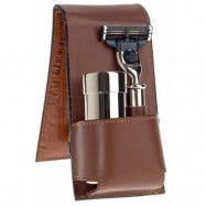 Edwin Jagger Brown Leather Mach 3 Travel Shaving Kit, Edwin Jagger