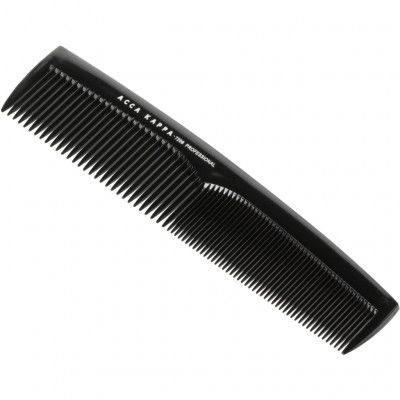Acca Kappa Professional Styling Fine Coarse Teeth Comb – 7208 Black