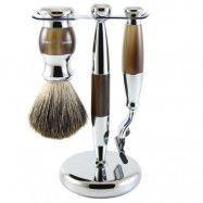 Edwin Jagger 3pc Diffusion Light Horn Shaving Set Mach3, Edwin Jagger
