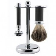 Edwin Jagger 3pc Ebony Shaving Set DE Razor, Edwin Jagger