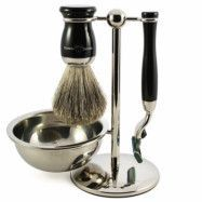 Edwin Jagger 4pc Edwardian Ebony Shaving Set Mach3, Edwin Jagger