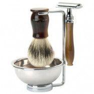 Edwin Jagger Chatsworth Ebony 4pc Shaving Set DE Razor Silver Tip Badger, Edwin Jagger