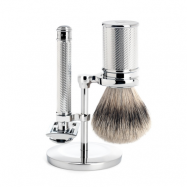 Mühle Rakset med DE-Rakhyvel, Silvertip Badger + Ställ (Chrome silver)