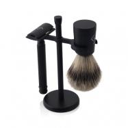 Njord DE Safety Razor Shaving Set (DE Safety Razor, Best Badger Shaving Brush & Stand)