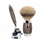 Shaving Set Edition 3 Bog Oak Sterlig Silver Fusion Silvertip