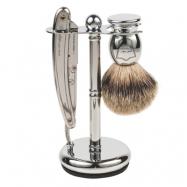 Parker SR1 Barber Razor & Pure Badger 3-Piece Shave Set